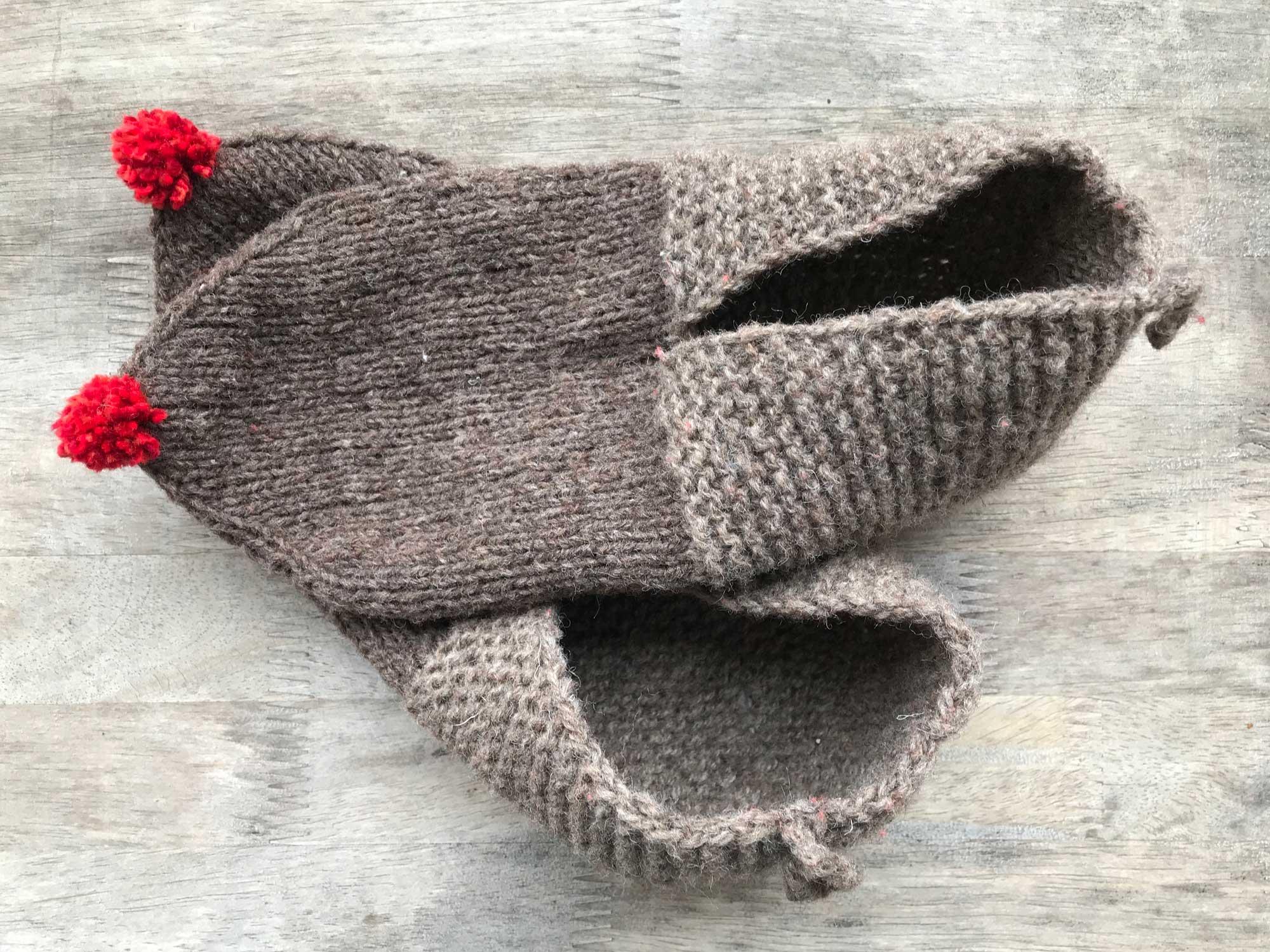 Griechenland Hausschuhe Stricken Bommel Socken Wollwaerts